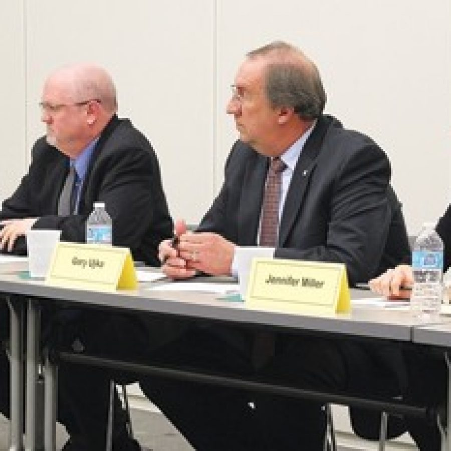 Lindbergh school board candidates, from left, David Reinhardt, Mike Tsichlis, incumbent Gary Ujka and Jennifer Miller, are shown at the district's candidate forum earlier this month. A fifth candidate, Michael Bitzenburg, did not attend.