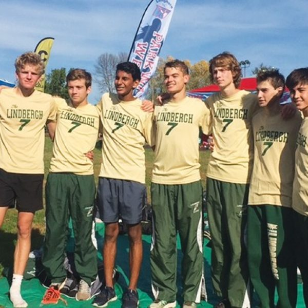 The Lindbergh High School varsity boys' cross country team is pictured at Saturday's sectional meet, where it finished third. Pictured, from left, are: Connor Kingsland, Billy Driemeyer, Pratyay Bishnupuri, Carter Anderson, Reilly Adams, Michael Malin and Sam Weik.