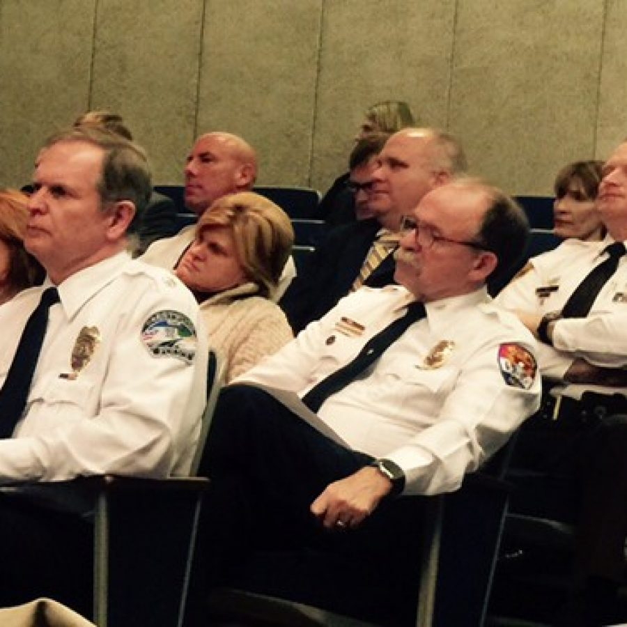 Deputy police chiefs listen during a Committee of the Whole meeting of the County Council on the police standards last November. Pictured, left, is Crestwood Deputy Chief Ron Compton, and right, county Deputy Chief Ken Cox of Oakville.