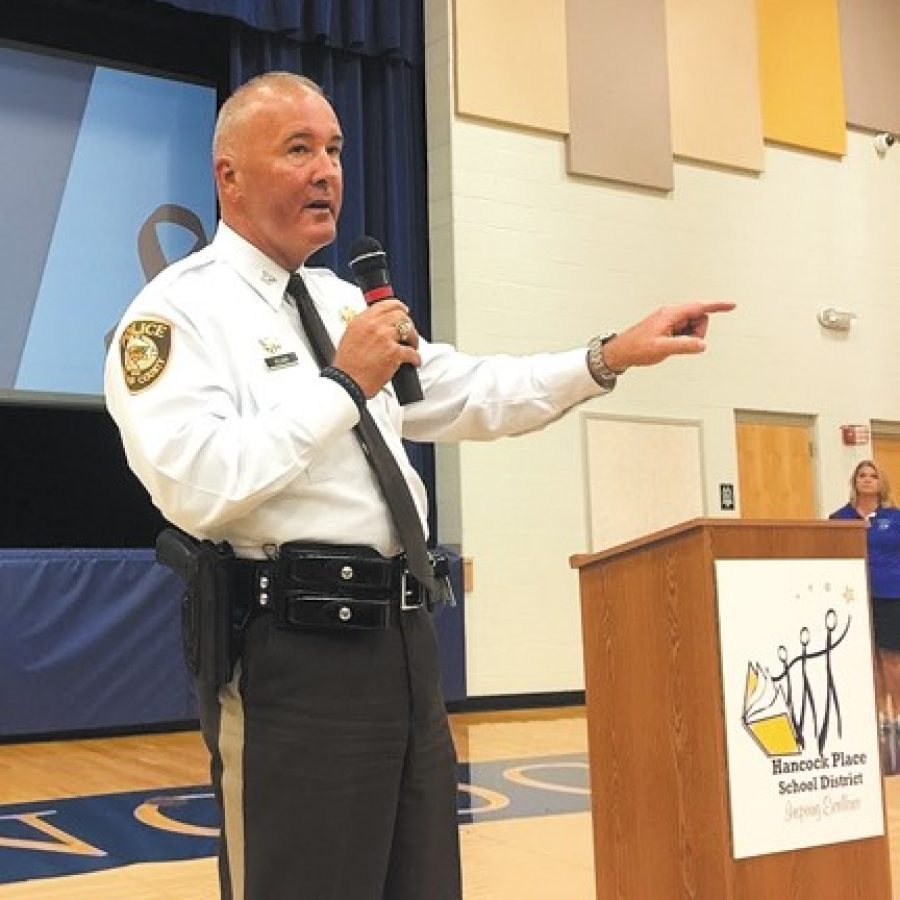 St. Louis County Police Chief Jon Belmar was among the speakers last week at the first South County Drug Resource Fair at Hancock Place High School.