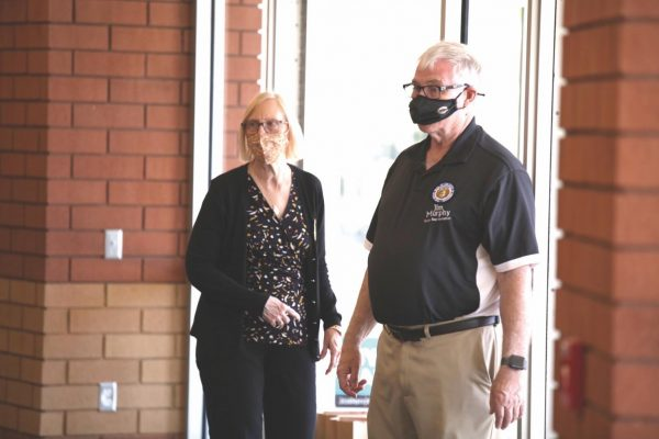 Mehlville Fire Protection District Board of Director Treasurer Bonnie Stegman, left, with Rep. Jim Murphy at the state-run Johnson and Johnson mass vaccination clinic at Bernard Middle School April 3.