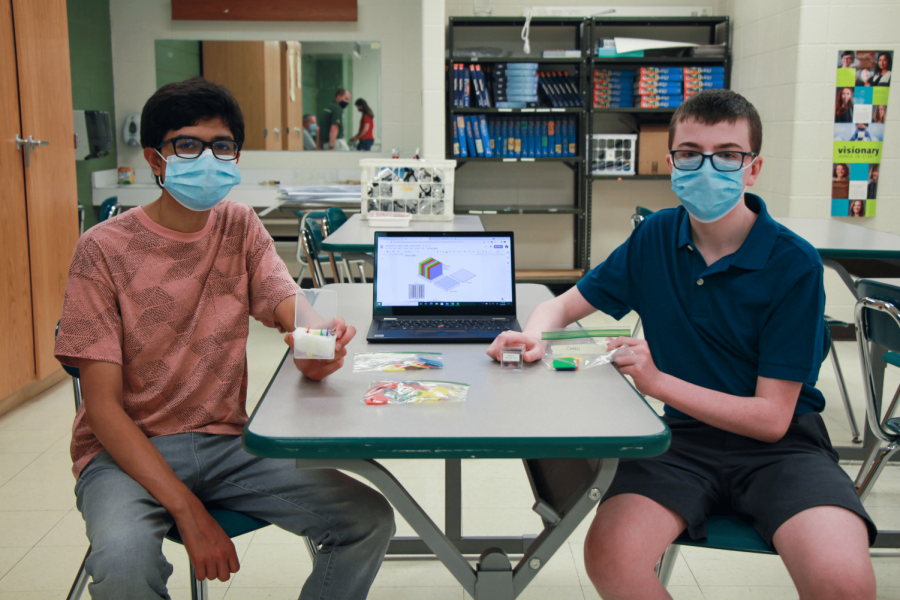 Lindbergh+High+School+students%2C+left+to+right%2C+Biraj+Pokhrel+and+Dylan+Rice+will+send+their+science+experiment+to+space+as+part+of+the+global+Cubes+in+Space+program.