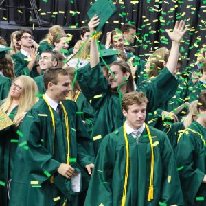 The 535 graduates of the Lindbergh Class of 2019 celebrated last week at Chaifetz Arena. But the departing seniors, like Carsen Blankenship, above with arms raised, and in front of him from left, Chad Blaylock and Dan Baudendistel, have more to celebrate than just leaving high school.  The seniors earned more than $23 million in scholarships for the nearly 85 percent of them who plan to attend college. And once again, their high school was ranked as one of the greatest high schools in the country.