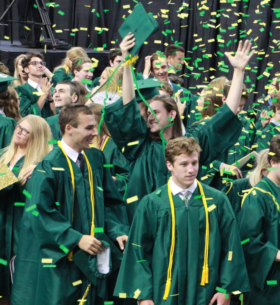 The+535+graduates+of+the+Lindbergh+Class+of+2019+celebrated+last+week+at+Chaifetz+Arena.+But+the+departing+seniors%2C+like+Carsen+Blankenship%2C+above+with+arms+raised%2C+and+in+front+of+him+from+left%2C+Chad+Blaylock+and+Dan+Baudendistel%2C+have+more+to+celebrate+than+just+leaving+high+school.+%0AThe+seniors+earned+more+than+%2423+million+in+scholarships+for+the+nearly+85+percent+of+them+who+plan+to+attend+college.+And+once+again%2C+their+high+school+was+ranked+as+one+of+the+greatest+high+schools+in+the+country.