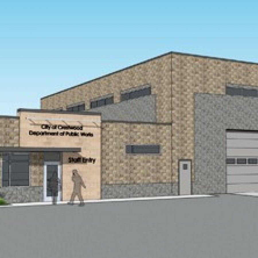 This is a rendering of Crestwood's new Public Works facility proposed to be constructed at 9353 Watson Industrial Park.