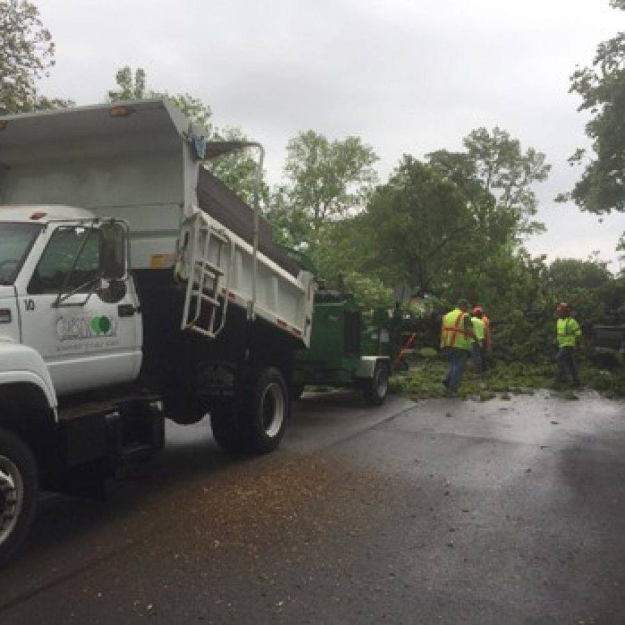 A Crestwood Public Works crew clears a downed tree in this photo taken by Board of Aldermen President Justin Charboneau of Ward 2.