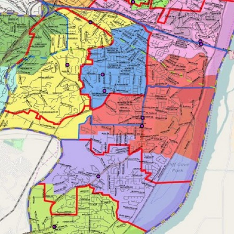 The elementary redistricting in Oakville, as proposed under Scenario A. The northern boundary of Rogers Elementary is shown at the bottom of this image, and Interstate 255 is shown at the top of the image. Rogers is in green, Point is in purple, Wohlwend is in red, Oakville Elementary in blue, Blades in yellow and Trautwein in green.