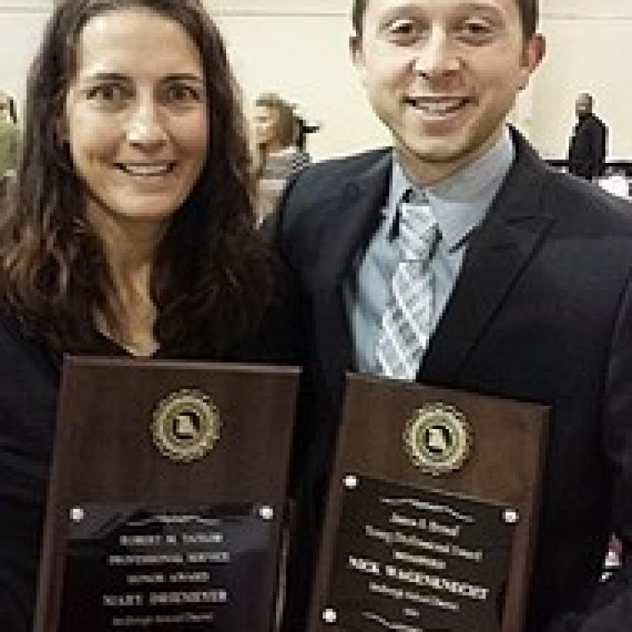 Lindbergh physical education teachers Mary Driemeyer and Nick Wagenknecht were honored at the recent Missouri Association for Health, Physical Education, Recreation and Dance conference.