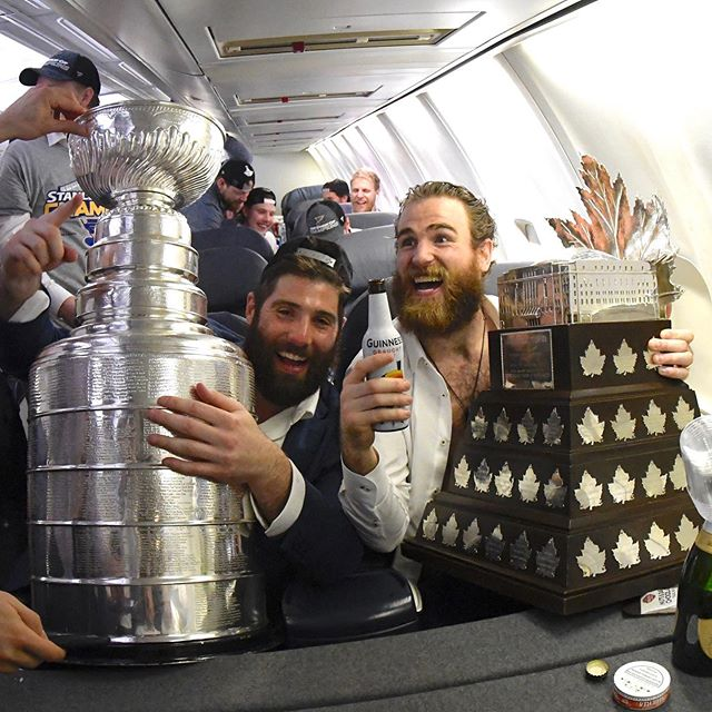 Oakville+native+Pat+Maroon%2C+left%2C+holds+the+Stanley+Cup+alongside+MVP+Ryan+OReilly+on+the+airplane+home+from+Boston.