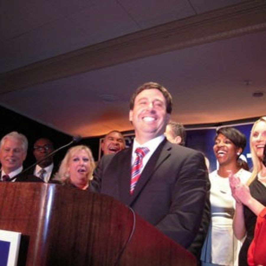 County Executive-Elect Steve Stenger at his victory party Nov. 4. Pictured, front row, from left, are: 5th District Councilman Pat Dolan, D-Richmond Heights; Stenger's sister Debbie Mourning; Stenger; Leslie Broadnax; Stenger's wife Allison; and former Sen. Betty Thompson.