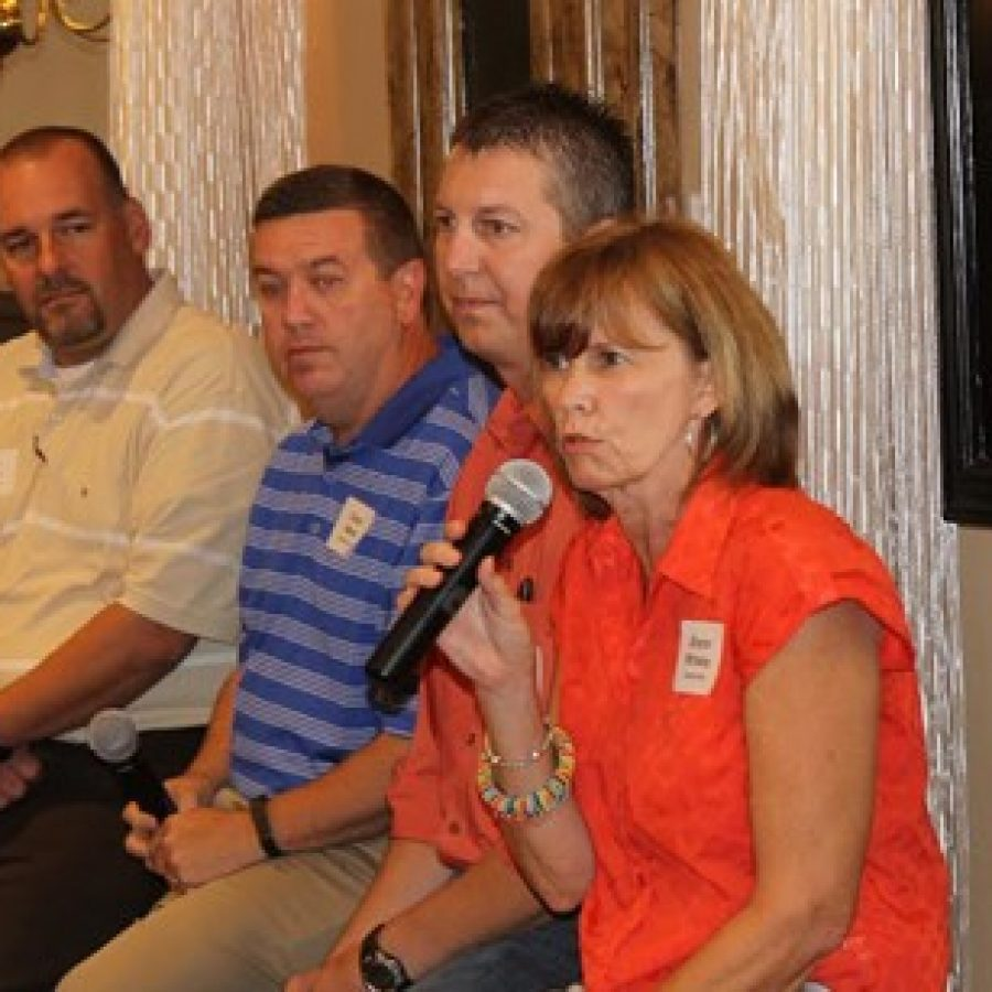 Mehlville parents speak at the 'Good Morning Mehlville-Oakville' event in September.