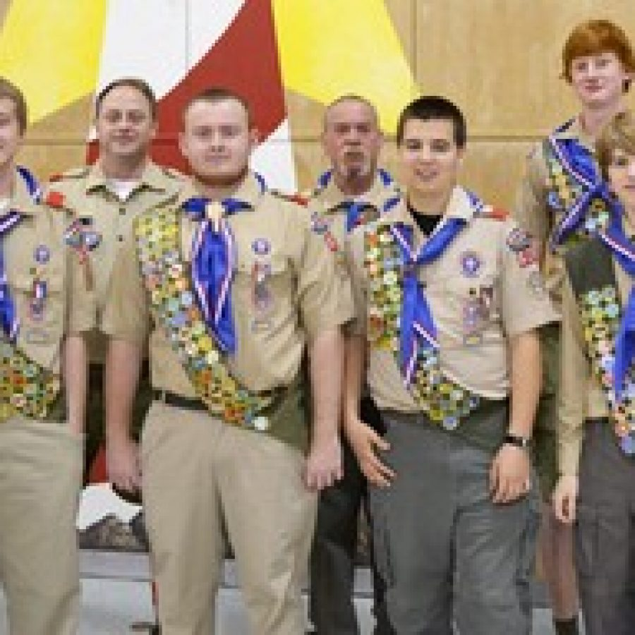 Boy Scout Troop 826 Eagle Scouts, front row, from left, are: Michel Heuschele, Andy Heuschele, Alex Lucarz and Bailey Voellinger. Back row, from left, are: Scoutmaster Mike Sluss, former Scoutmaster Bob Heuschele and Eagle Scout Grant Erard.