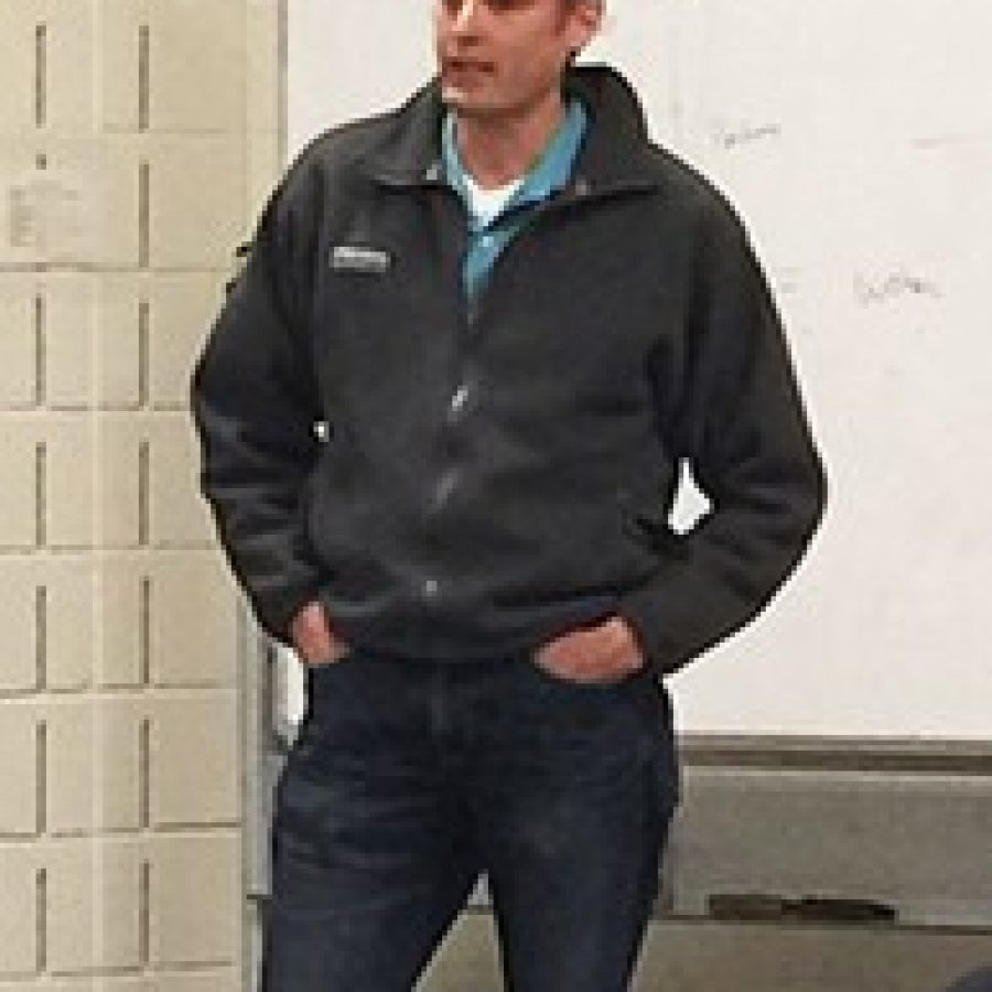 Green Park Ward 1 Alderman Tony Pousosa gives a speech before he was nominated as the Republican candidate for 6th District County Council at Weber Road Library Wednesday night.Photo by Gloria Lloyd