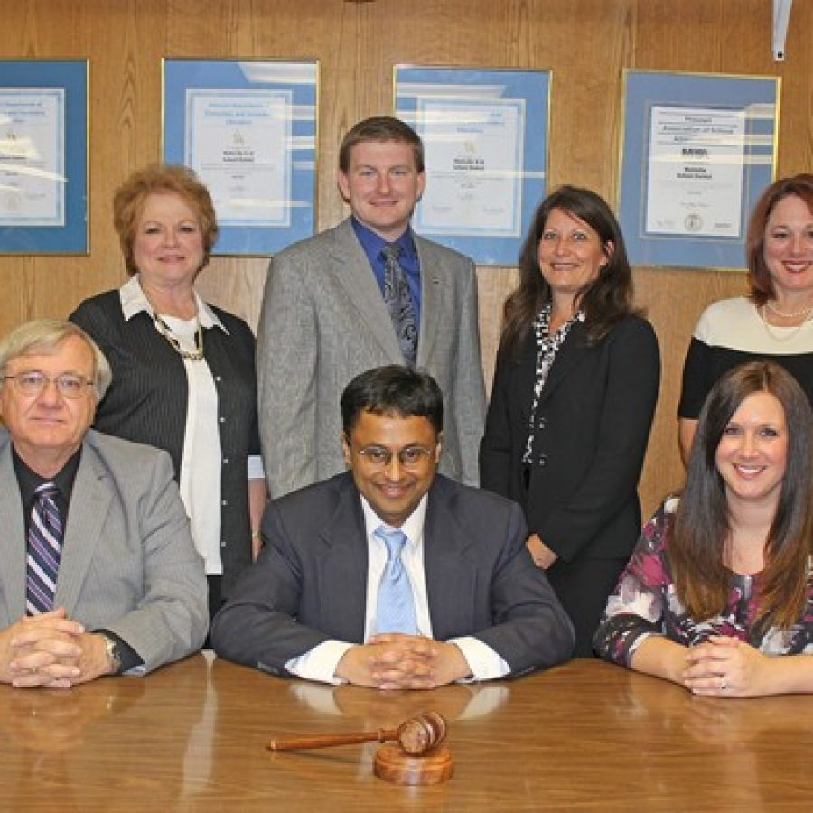 The 2015-2016 Mehlville Board of Education group photo, with officers in the front: from left, Vice President Larry Felton, President Venki Palamand and Secretary Samantha Stormer. Back, left to right, Jean Pretto, Jamey Murphy, Lisa Dorsey and Lori Trakas.