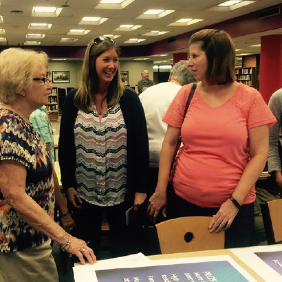 Oakville High parents and grandparents discuss block scheduling at a public meeting Sept. 9 at OHS.