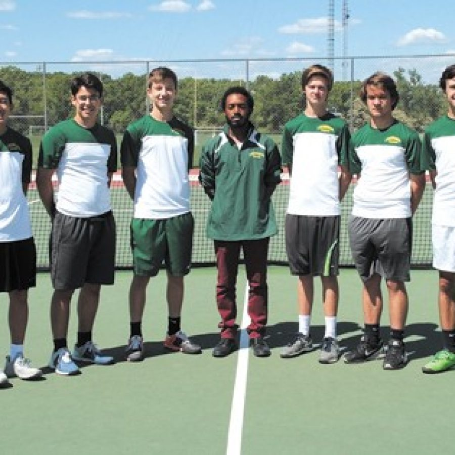 Lindbergh High School tennis Coach Brandon Murray, center, who recently was named 2016 High School Coach of the Year by the U.S. Tennis Association St. Louis District, is pictured with his boys' tennis team that finished third at state this year.