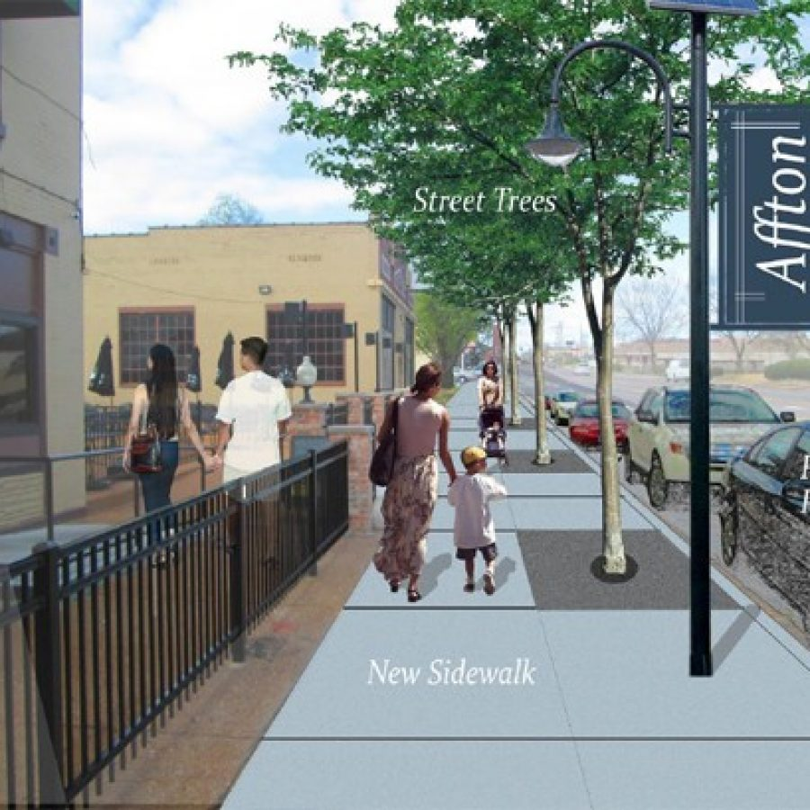 East-West Gateway's long-term vision of what the Gravois Heights area along Gravois Road in Affton could look like with Great Streets-like investment.