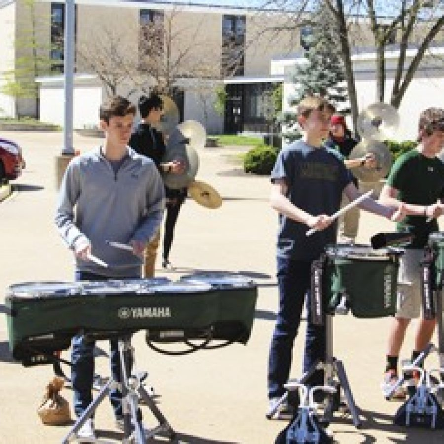 Members of the Lindbergh High School Drumline entertained students at lunchtime during the 36-hour LHS Musicthon that raised \$1,800 for childhood cancer research.