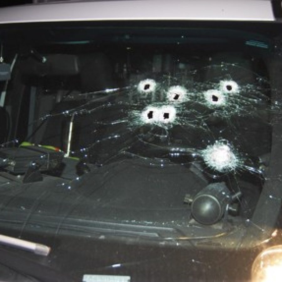 The Sunset Hills Police Department released this photograph of damage to a city police vehicle following a chase in which a suspect and a Sunset Hills police officer exchanged shots.