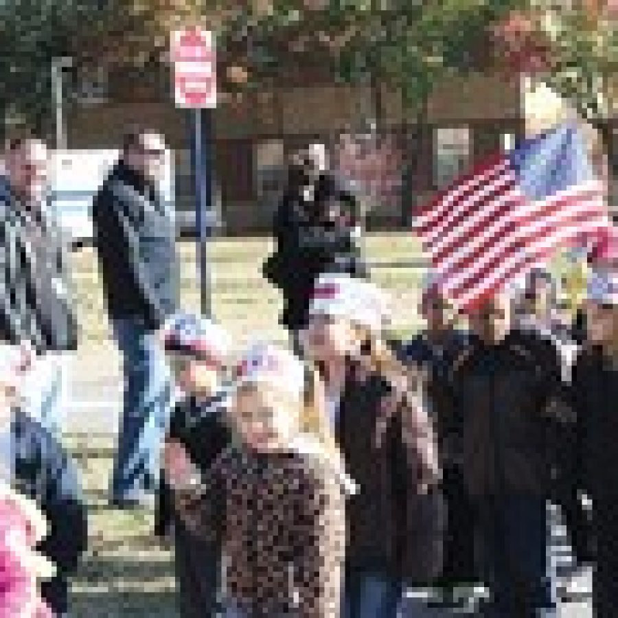 Beasley Elementary School students conducted a parade last week in front of several buildings on the campus of the Department of Veterans Affairs' St. Louis Health Care System-Jefferson Barracks Division in honor of Veterans Day. The parade was led by a St. Louis County Police Department escort.