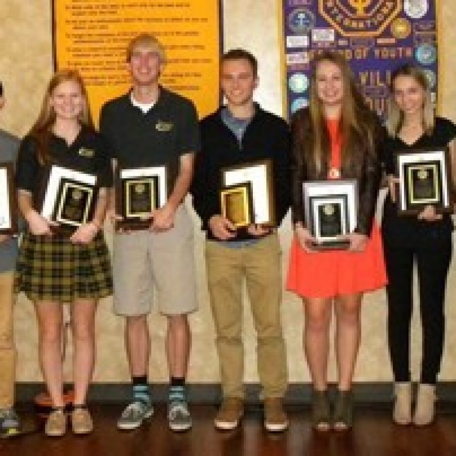 Mehlville Optimist Club member John Roland, left, is shown with local high school students honored by the club. Pictured, from left, are: Shalaka Nimmagadda and Randall Le, Lindbergh High School; Meredith Meyer and Lucas Steffan, Lutheran High School South; Dominic Meyer and Alyssa Drew, Mehlville High School; Shayla Hrncic and Shannon Goersch, Oakville High School; and Optimist Club President Curt Overbey. Not pictured are: Arifa Klokic and Nedzad Durakovic, Hancock High School.