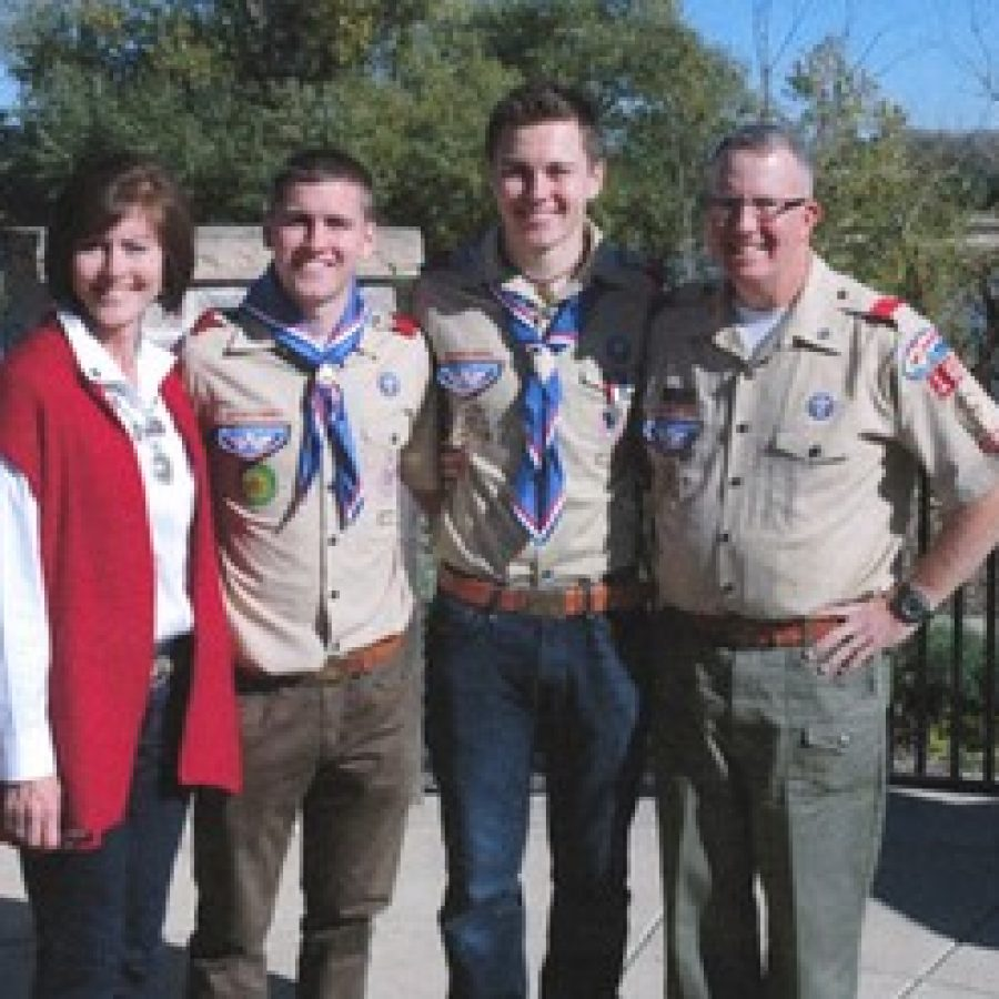 Eagle Scout Clayton Jezewak is pictured with his parents and brother, who also is an Eagle Scout. Pictured, from left, are: Susan Butler, Michael Jezewak, Clayton Jezewak and Richard Butler.