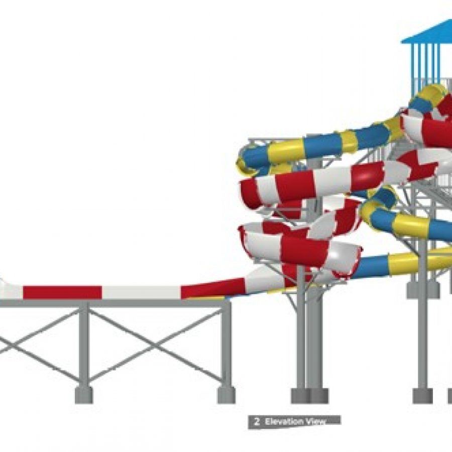 A rendering of the two waterslides proposed at the August meeting of the Sunset Hills Board of Aldermen.