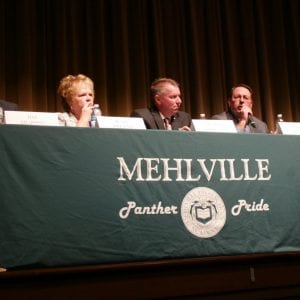 From left to right: 94th District candidates Jim Murphy and Jean Pretto and 95th District candidates Michael O'Donnell and Mike Walter at the candidate forum Wednesday, Oct. 24, 2018 at Mehlville High School in St. Louis. Murphy and O'Donnell both went on to be elected as representatives of their respective districts.