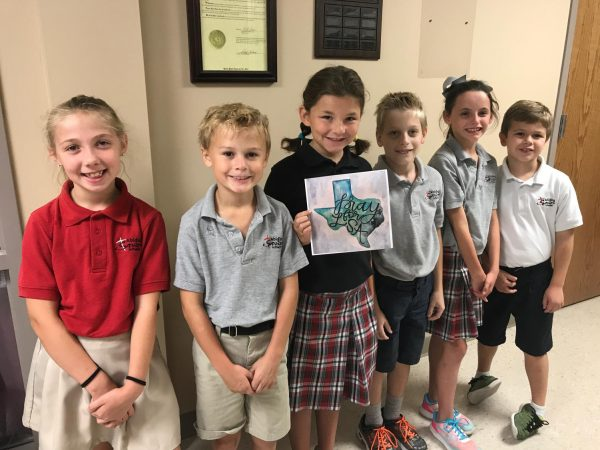 Abiding Savior Lutheran students shown at the time of the Hurricane Harvey donation, September 2017.
