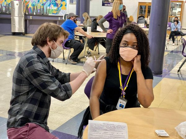 The Affton School District vaccinated every teacher and staff member who wanted a COVID-19 vaccine at an event at Affton High School Monday, March 15, 2021, seen above.