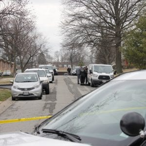 The St. Louis County Police Department investigates at apartments along Marble Arch Lane in Affton after a woman was fatally stabbed Wednesday. Photo by Erin Achenbach.