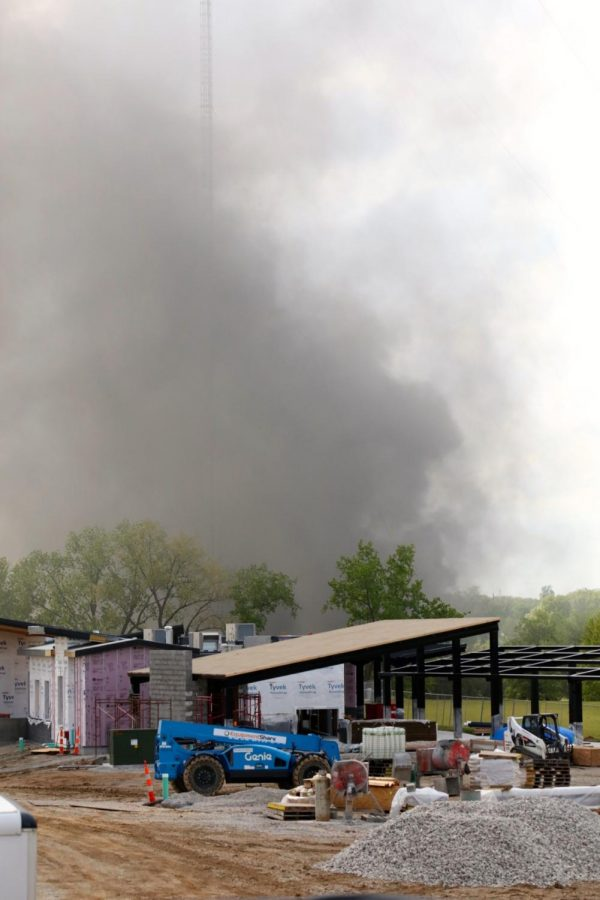 A fire at Manor Chemical Company plant, 6901 Heege Road, as seen from the new Tower Tee facility currently under construction, Thursday, April 29. The four-alarm chemical fire forced evacuations of residents near the plant, but the fire was fully contained by the end of the day and residents were able to return to their homes that evening.