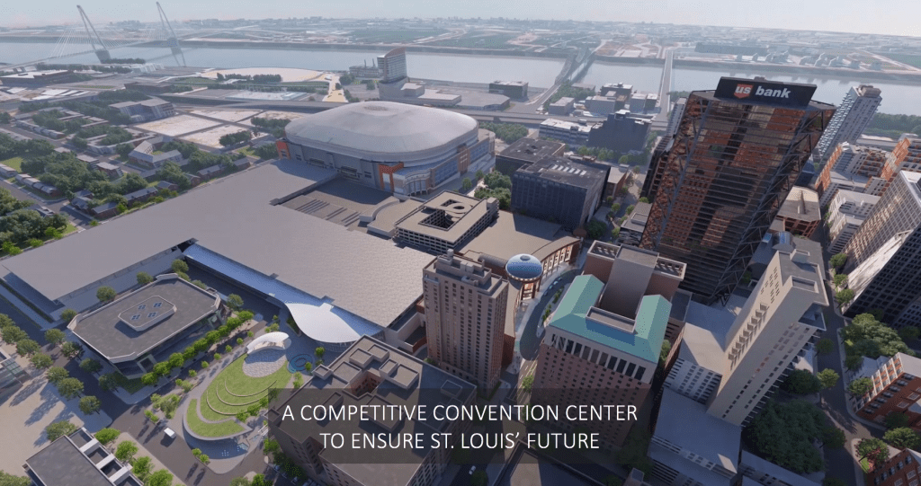 Rendering of the renovated and expanded America's Center.