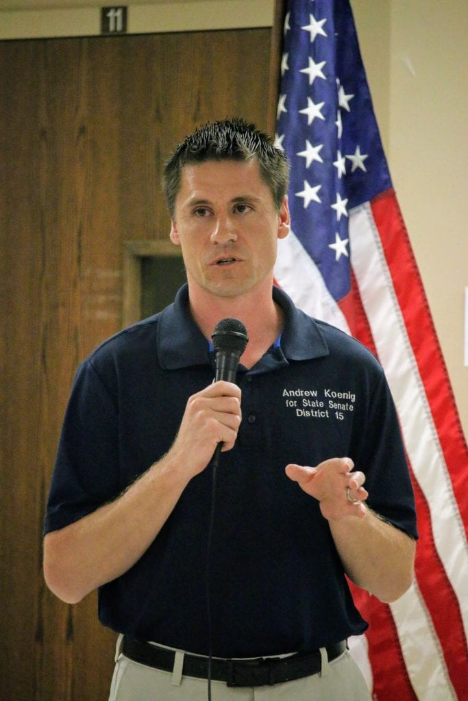 Sen. Andrew Koenig speaks at the Tesson Ferry Republican Club in summer 2018.