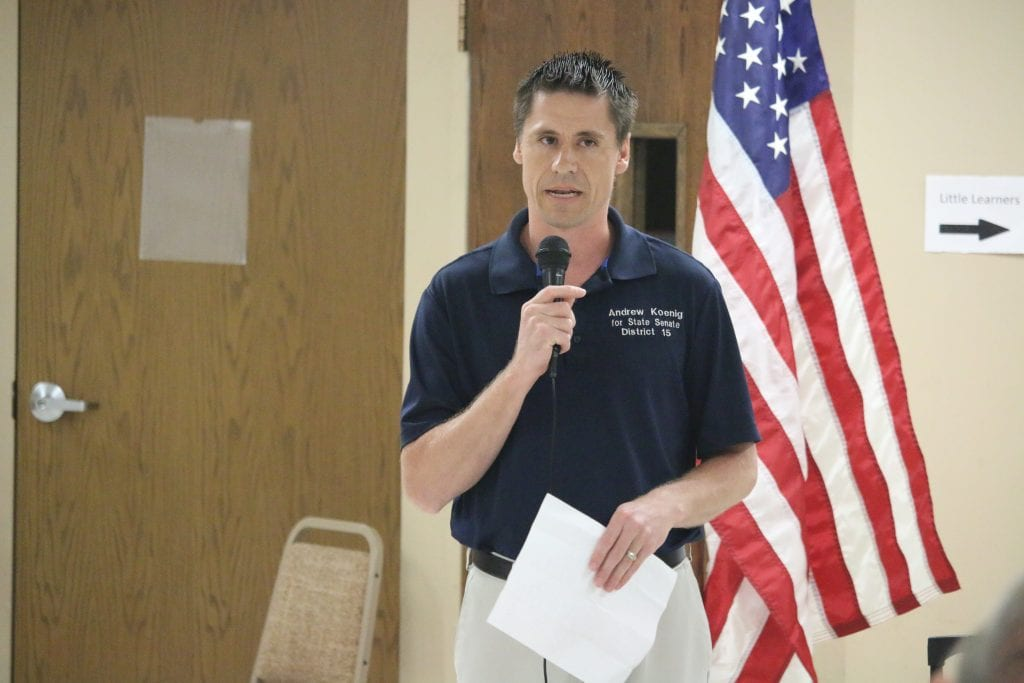 Sen. Andrew Koenig speaks at the Tesson Ferry Republican Club in summer 2018. Photo by Jessica Belle Kramer.