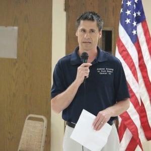 Sen. Andrew Koenig speaks at the Tesson Ferry Republican Club in summer 2018. Photo by Jessica Belle Kramer.