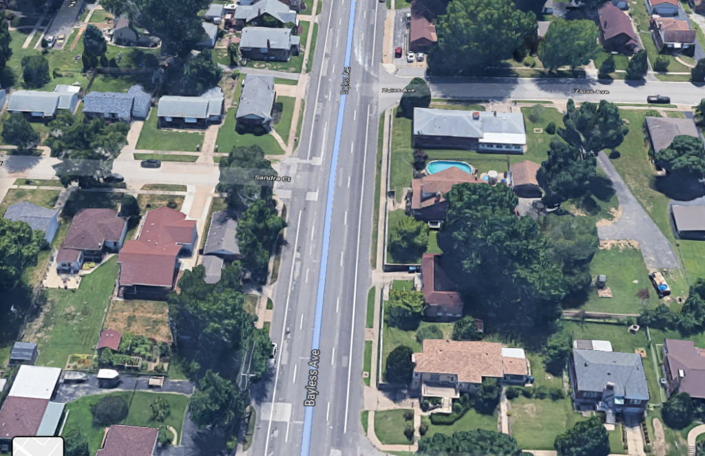 A Google Maps aerial view of Bayless Avenue.