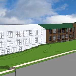 Pictured above: A rendering of the middle school expansion. Image courtesy of Bayless Schools.