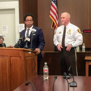 St. Louis County Prosecuting Attorney Wesley Bell, left, and police Chief Jon Belmar speak at a press conference after the February 2019 trial of Trenton Forster, who was convicted of first-degree murder for killing Officer Blake Snyder. Photo by Gloria Lloyd.
