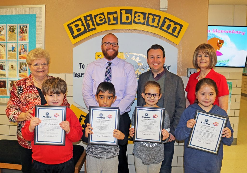 Pictured above: Bierbaum Principal Nathan Burch with the October 2018 Kiwanis Terrific Kids.
