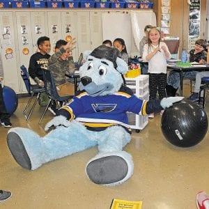 Blues mascot visits Blades Elementary School