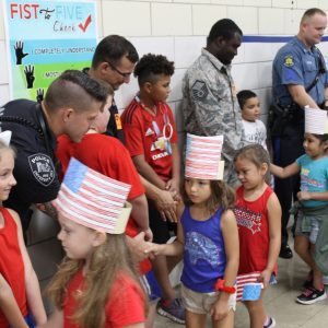 Blades Elementary 'high-fives' first responders