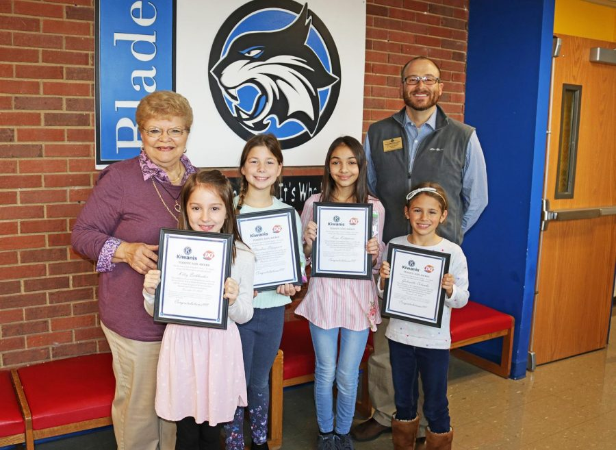Blades Elementary Terrific Kids in November 2018: Pictured front row, from left, are: Kiley Eschbacher, Elmindina Elijazovic, Aseya Kadymova and Gabriella Colombo. In the back row are Kiwanian Pauline Roth and Blades Principal Jeremy Booker.