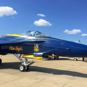 The Blue Angels No. 1 plane of Capt. Eric Doyle just after arriving in Chesterfield for the Spirit of St. Louis Air Show this weekend. Photo by Gloria Lloyd.