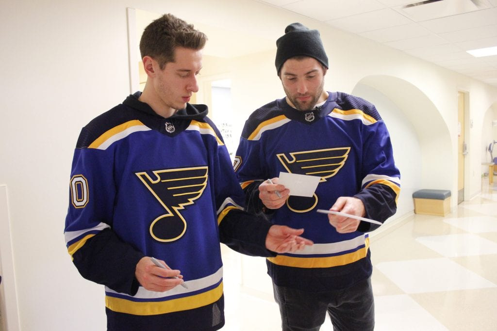 St.+Louis+Blues+players+including+Oakville+native+Patrick+Maroon%2C+right%2C+and+Jordan+Binnington+visited+children+at+Cardinal+Glennon+Children%27s+Hospital+around+Christmas+2018.+Photo+by+Erin+Achenbach.