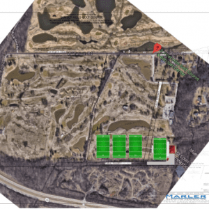 Pictured above: An aerial view of the Sunset Hills Golf Course, with the location of the proposed rugby park in green. Rendering courtesy of the St. Louis Bombers Rugby Club.
