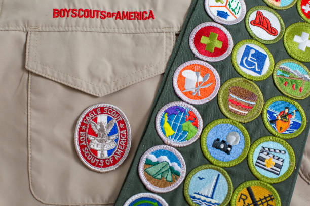 SAINT+LOUIS%2C+UNITED+STATES+-+OCTOBER+16%2C+2017%3A++Eagle+patch+and+merit+badge+sash+on+Boy+Scouts+of+America+%28BSA%29+uniform