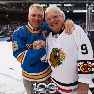 Brett Hull, left, and his father Bobby Hull. Photo courtesy of NHL.com.