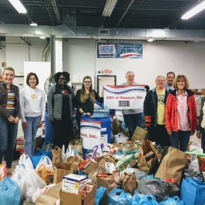 The Call Newspapers team with the thousands of donations from south county for the USO for Thanksgiving 2017.