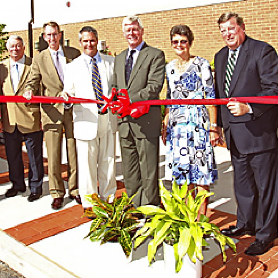 Pictured at Wednesday's ribbon-cutting ceremony for Charless Village are, from left: Bethesda board Chairman George Clements, board member Marian Clifford, advisory board member Kenneth Kolkmeier, board Treasurer Thomas Collins, Bethesda President and CEO Joe Brinker, Missouri Lt. Gov. Peter Kinder, Charless Foundation President Sally Lilly, Bethesda board Vice Chairman John Rowe and Larry Hickman, corporate vice president, administrative and chief information officer.